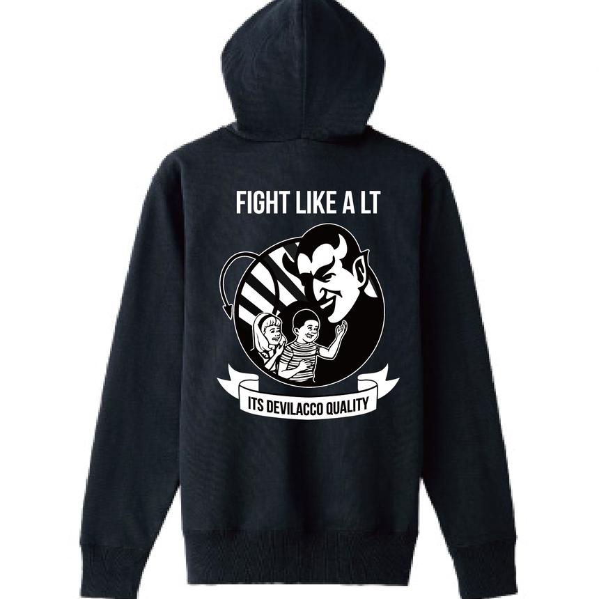 DEVILACCOパーカー「FIGHT LIKE A LT」BK