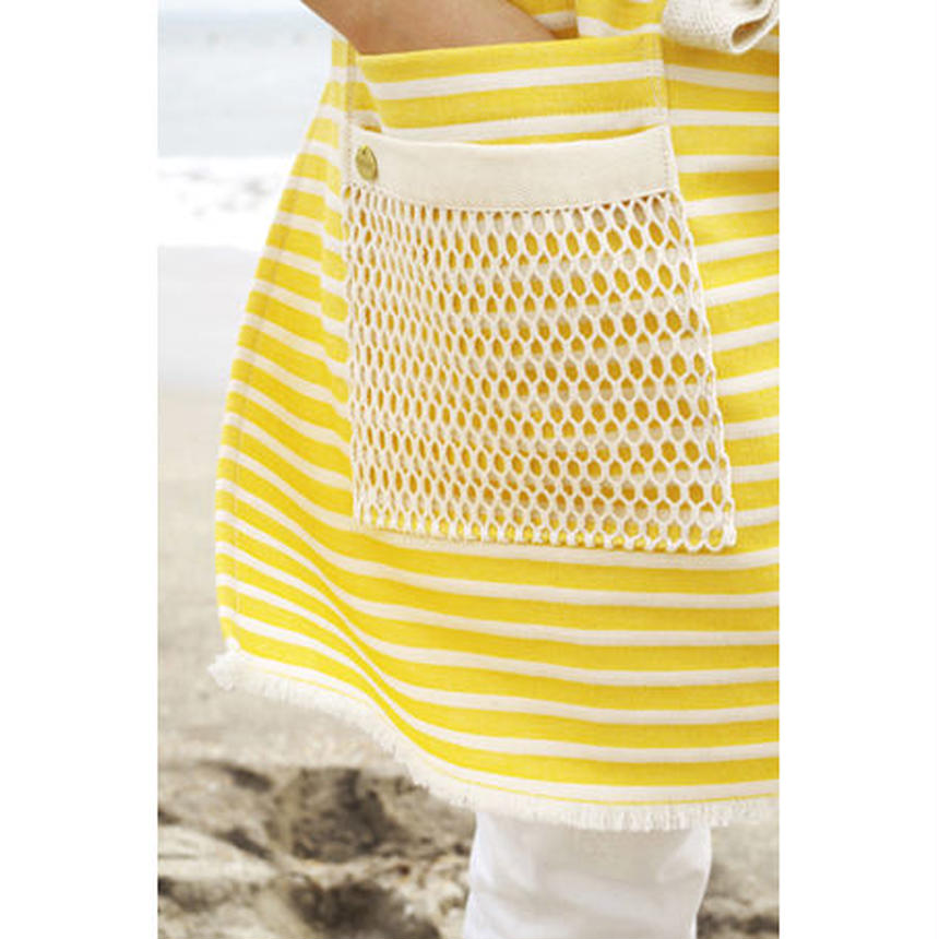 MESH POCKET APRON-YELLOW MARINE STRIPE