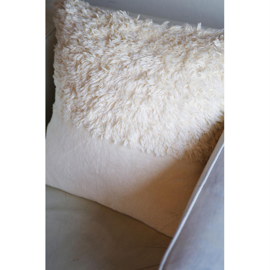 ORGANIC COTTON FUR MIX CUSHION COVER (SQUARE)-A