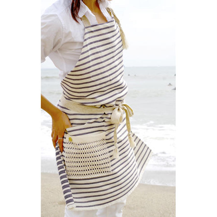 MESH POCKET APRON-NAVY MARINE STRIPE
