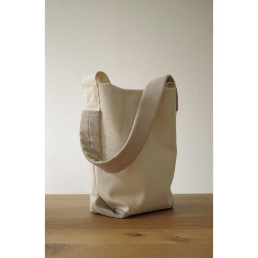 2WAY SHOULDER TOTE BAG-ORGANIC COTTON CANVAS+ULTRA SUEDE (GREY)