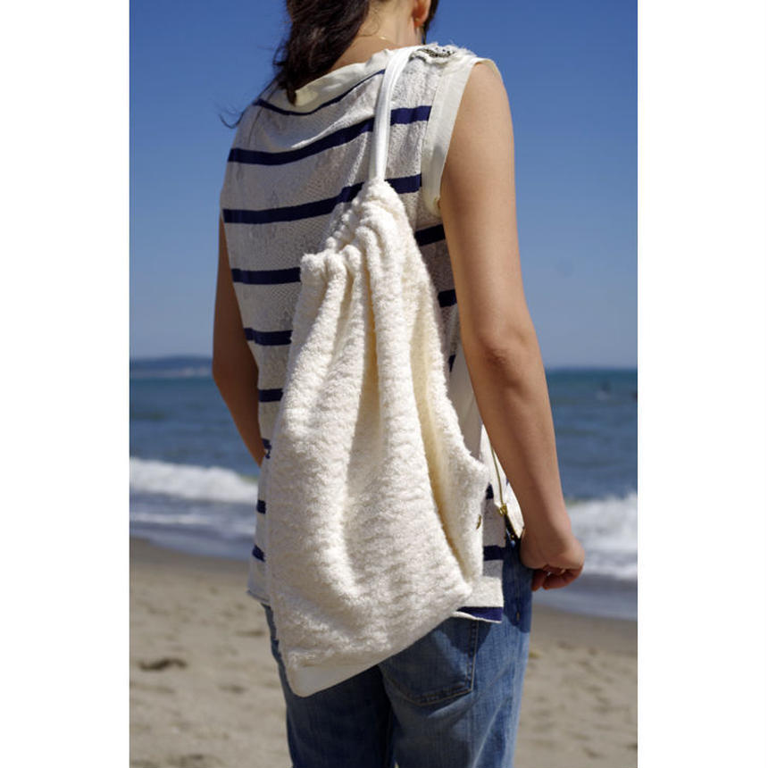 DRAWSTRING SHOULDER POUCH-ORGANIC COTTON BRUSED PILE