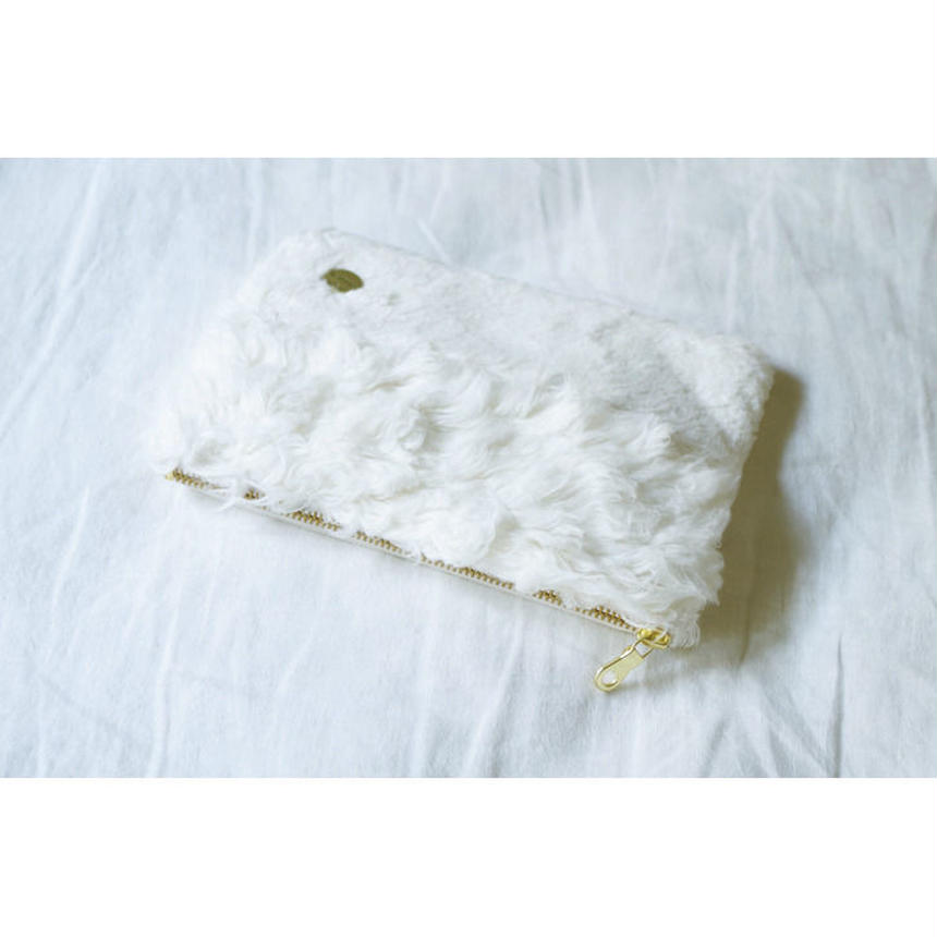 ORGANIC COTTON FUR MIX RECTANGLE POUCH-B