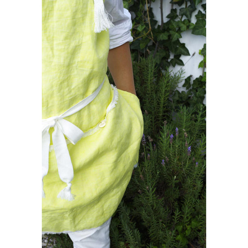 BIG POCKET APRON-YELLOW LINEN CHAMBRAY