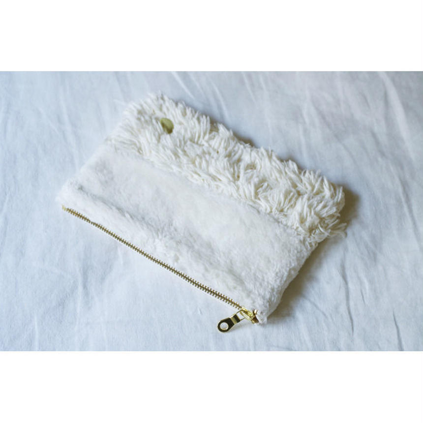 ORGANIC COTTON FUR MIX RECTANGLE POUCH-A