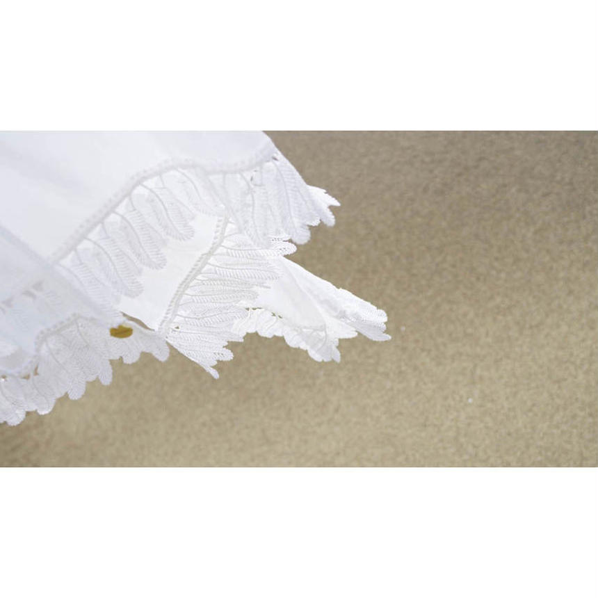 COTTON LAWN STOLE WITH FEAHERS LACE TRIM