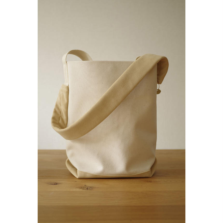 2WAY SHOULDER TOTE BAG-ORGANIC COTTON CANVAS+ULTRA SUEDE (BEIGE)