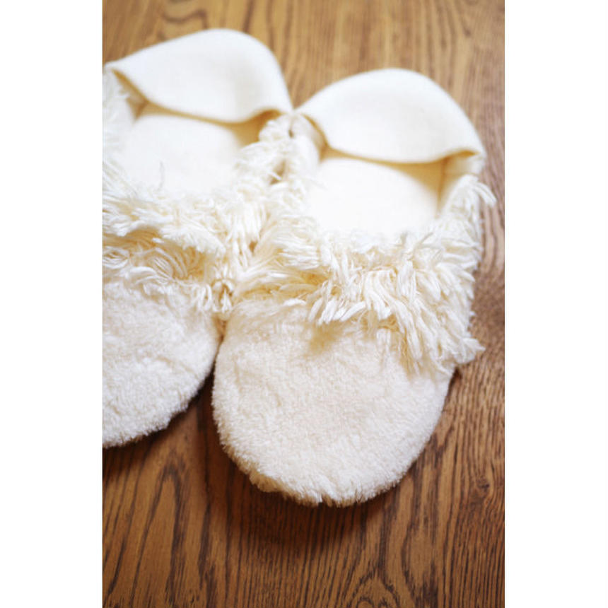 ORGANIC COTTON FUR MIX ROOM SHOES-A