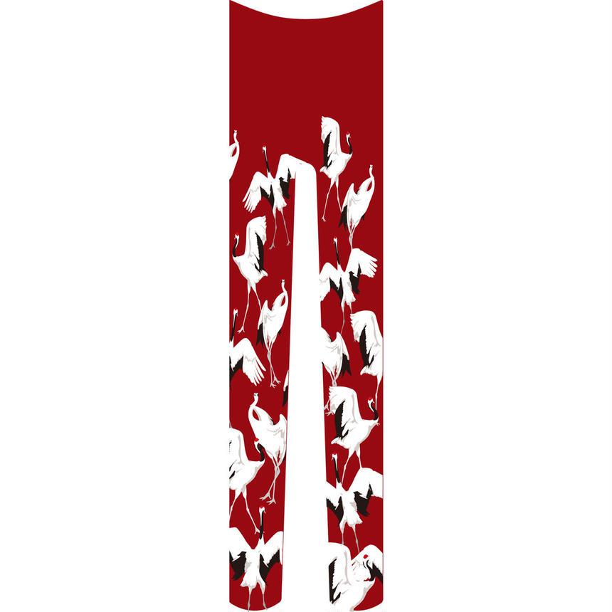 鶴 タイツ 総柄 紅葉色