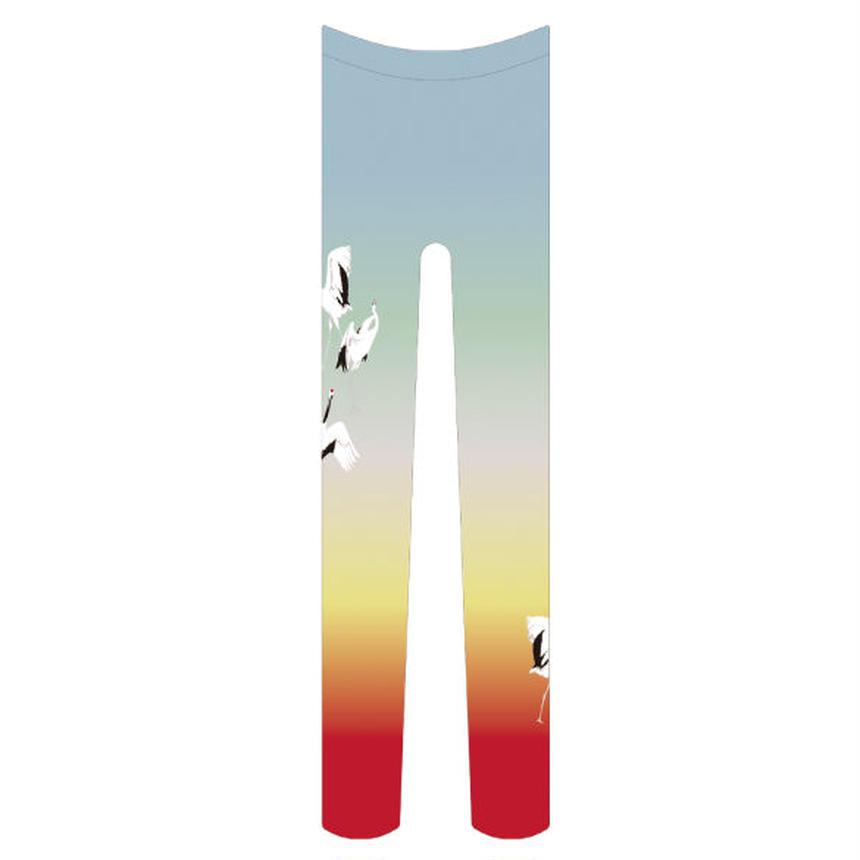 鶴 タイツ ワンポイント 虹色