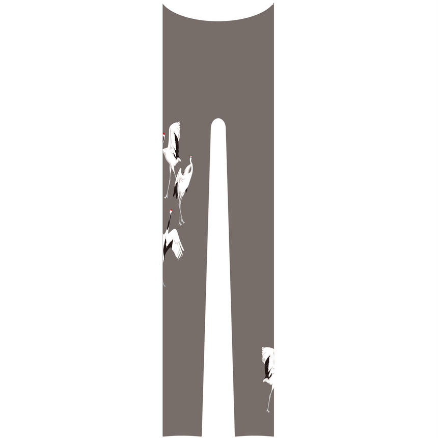 鶴  レギンス ワンポイント 鼠色