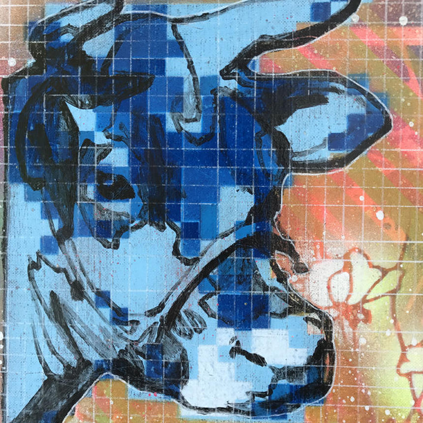 BITMAP COW  (Blue)