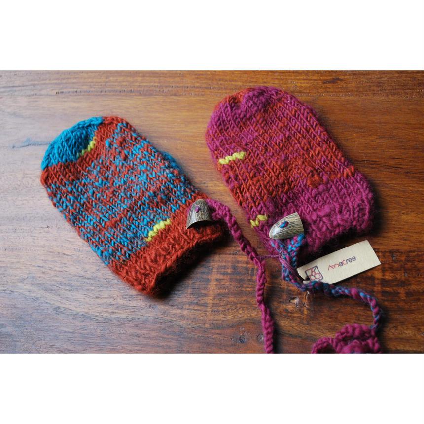 手つむぎ手編みkids用ミトン