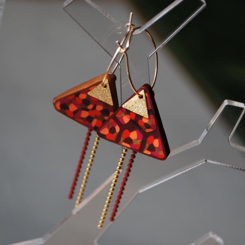 サンカク三角フープピアス+ボールチェーン