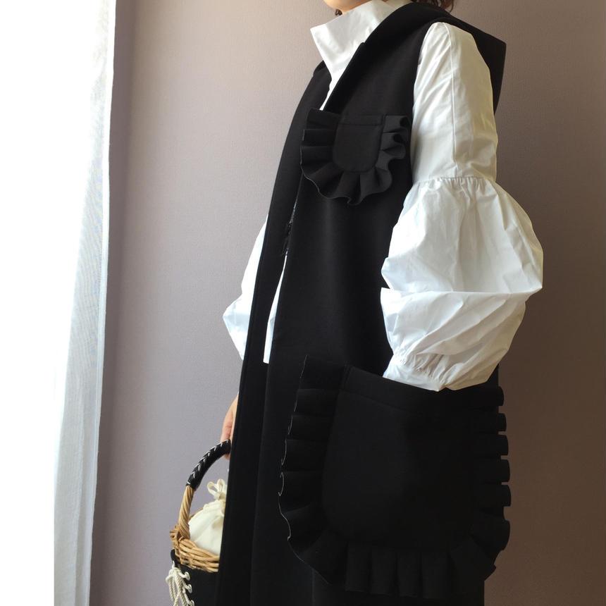Odette(フリルポケットフードロングジレ):ブラック