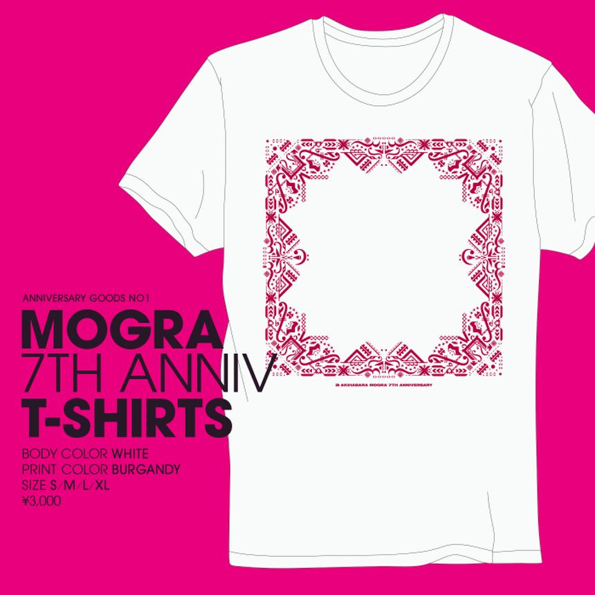 【再入荷】MOGRA 7th Anniv. T-Shirts (White & Burgandy) [M-005]