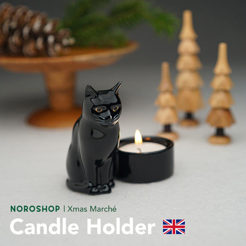 【Quail Ceramics】 黒猫のキャンドルホルダー (12/17以降の発送となります)