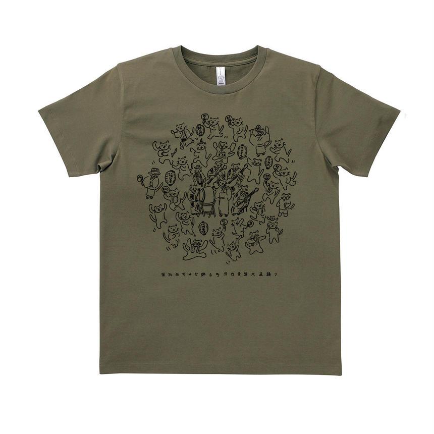 『イヤコラセ東京×にゃんとこコラボ!第36回すみだ錦糸町河内音頭T-shirts』/KHAKI×BLACK