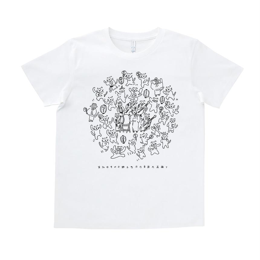 『イヤコラセ東京×にゃんとこコラボ!第36回すみだ錦糸町河内音頭T-shirts』 /WHITE×BLACK