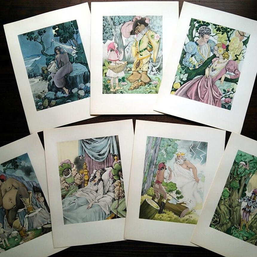 ◆Umberto Brunelleschi(ウンベルト・ブルネレスキ)◆1946年 シャルル・ペローの童話集 別刷挿絵 ①