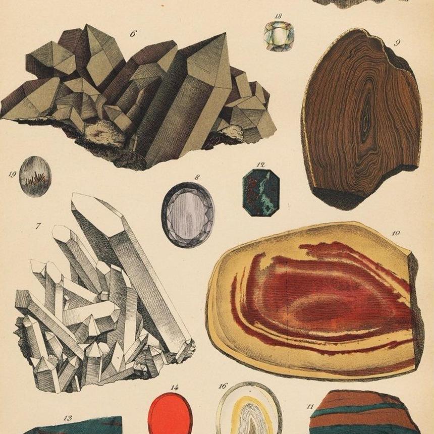 1878年鉱物画②<ドイツ>◆ アンティーク・クロモリトグラフ