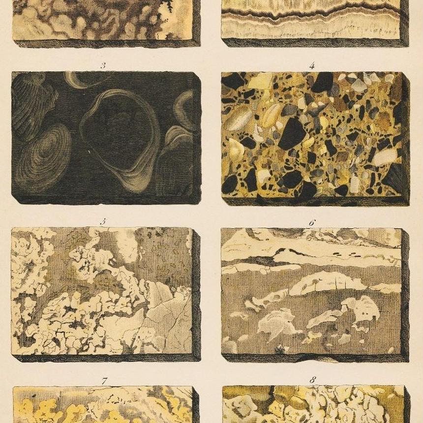 1878年鉱物画⑥<ドイツ>◆ アンティーク・クロモリトグラフ