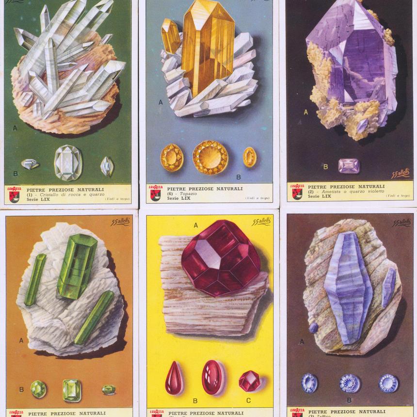 1952年イタリア◆鉱物・宝石6種アンティーク・ビンテージカード