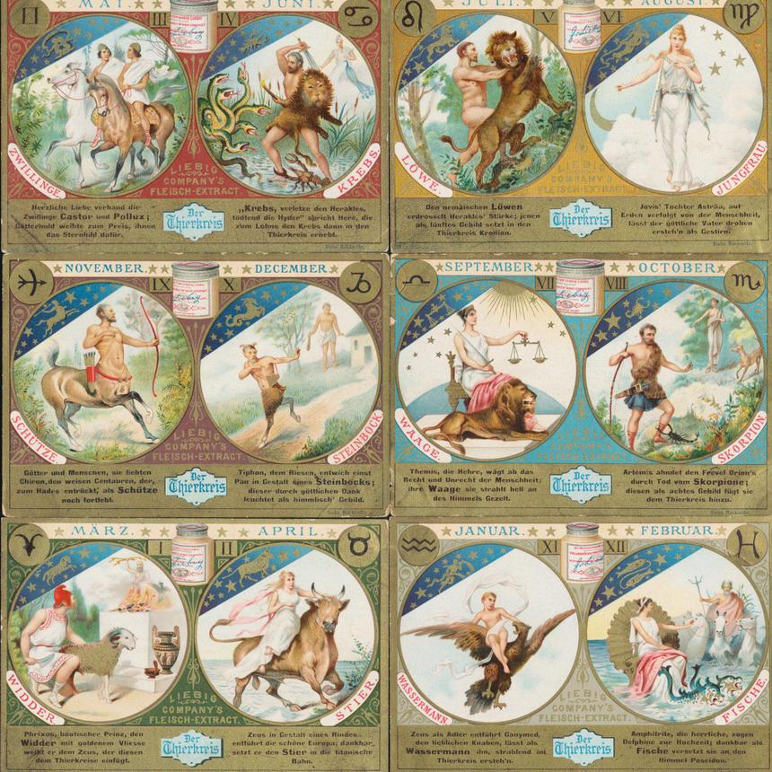 1897年 LIEBIG◆12星座6種アンティーク・ビンテージカード