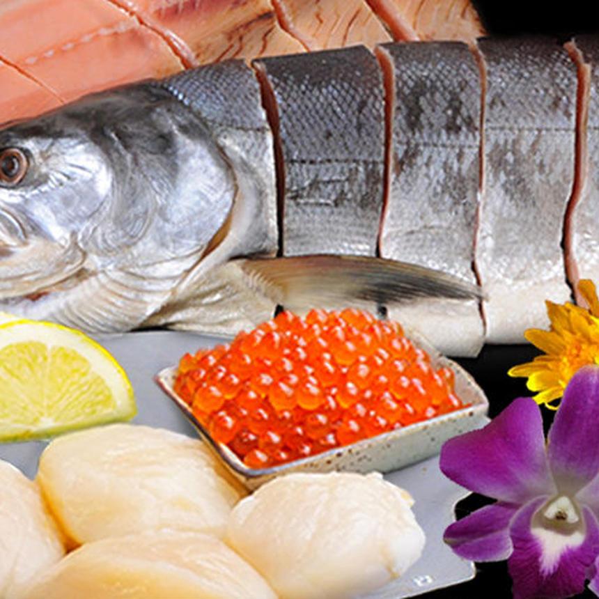 D17 いくら、山漬(やまづけ)鮭、ホタテの北海道豪華三点セット