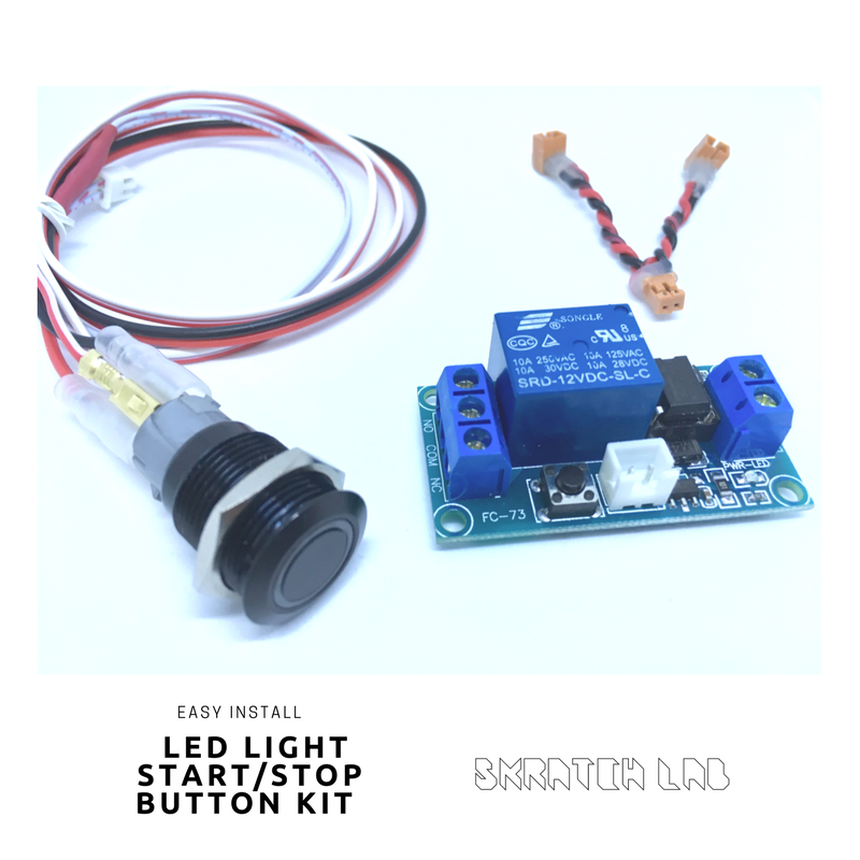 EASY INSTALL 16mm LED Light START_STOP BUTTON KIT (Momentary Button+Latching Relay)
