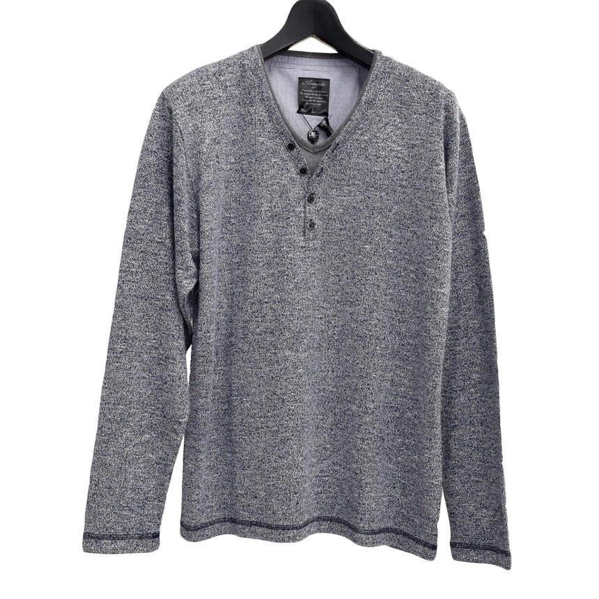 AMORTE ニットソー フェイク 4つボタン Yヘンリー Tシャツ(7402-100,38B,ネイビー)