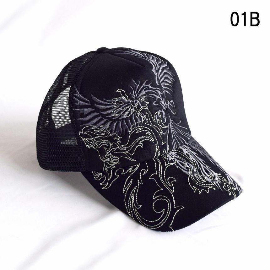 和柄刺繍 トライバル メッシュキャップ(7683-921,01B,グレー・フェニックス)