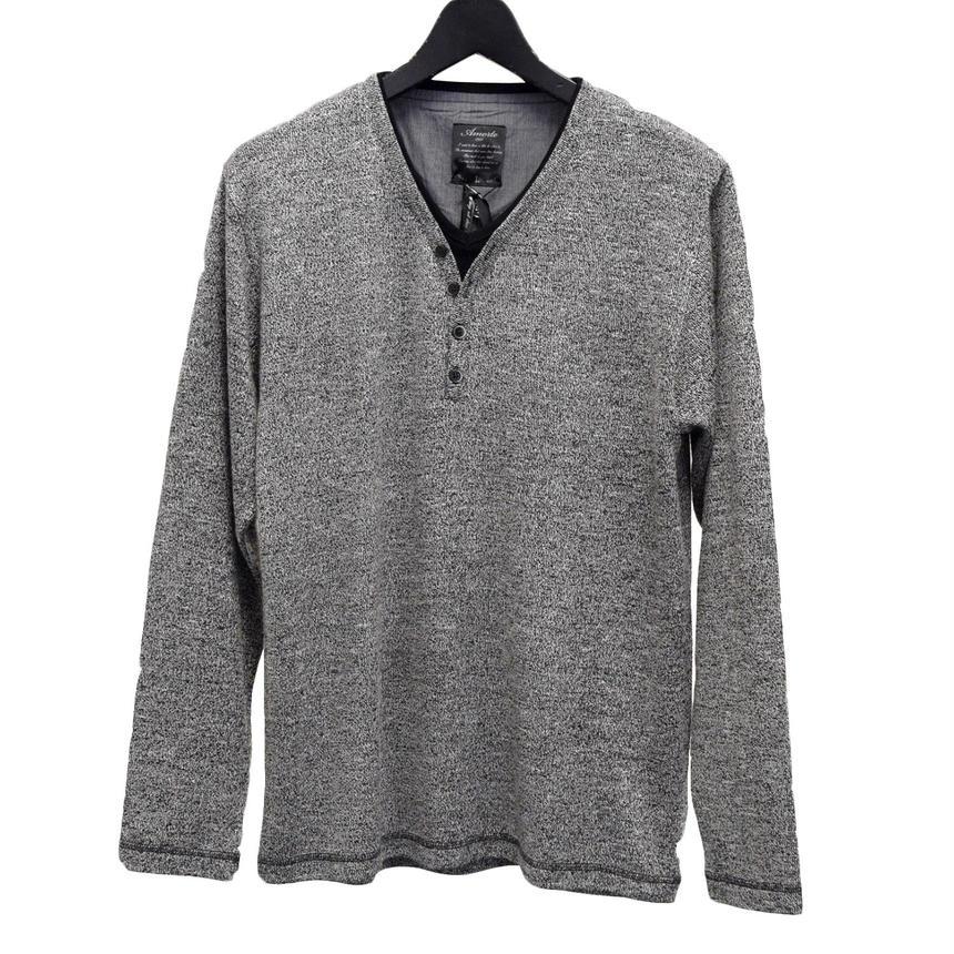 AMORTE ニットソー フェイク 4つボタン Yヘンリー Tシャツ(7402-100,41B,グレー)