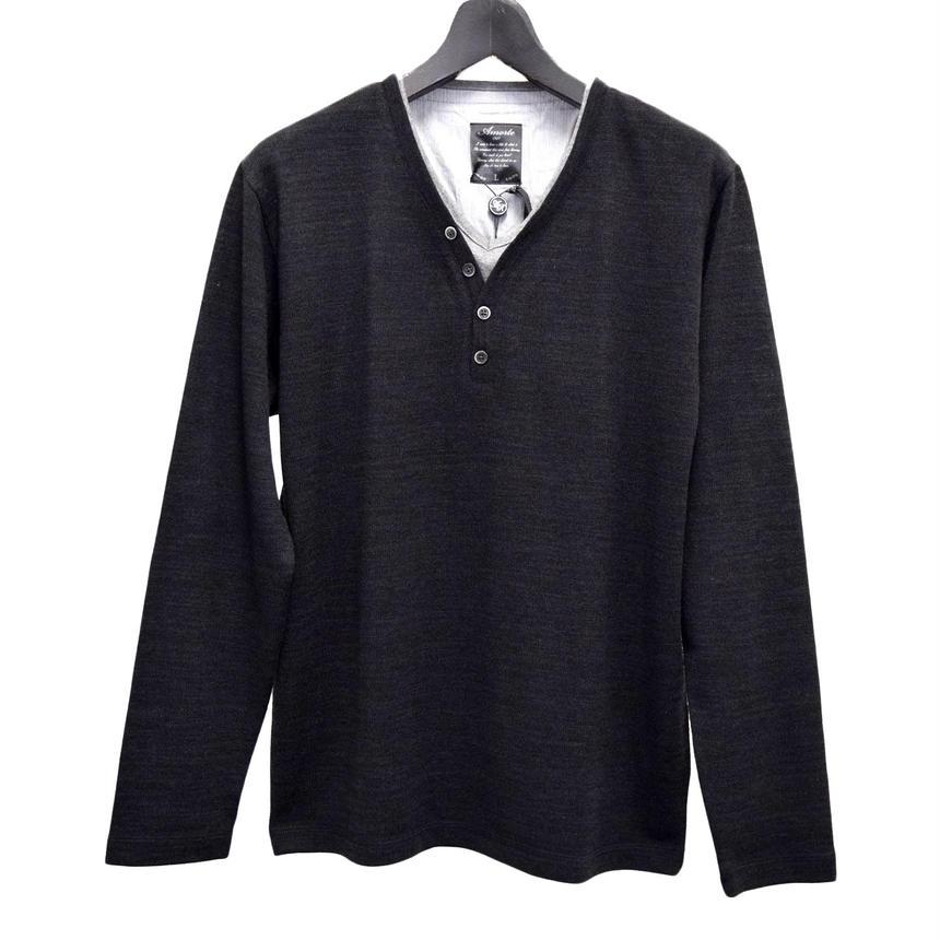 AMORTE ニットソー フェイク 4つボタン Yヘンリー Tシャツ(7402-100,41,ブラック)