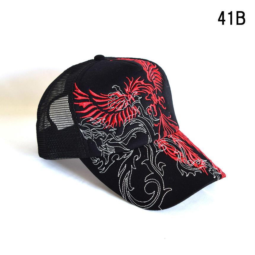 和柄刺繍 トライバル メッシュキャップ(7683-921,41B,レッド・フェニックス)