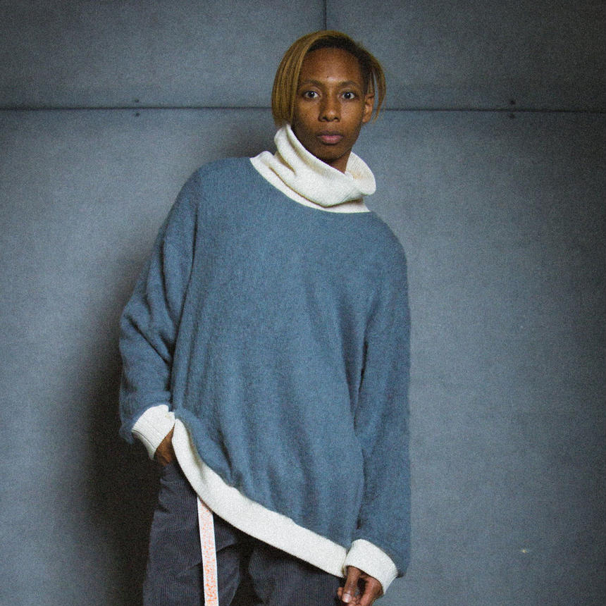 SHAGGY TURTLE KNIT / gray