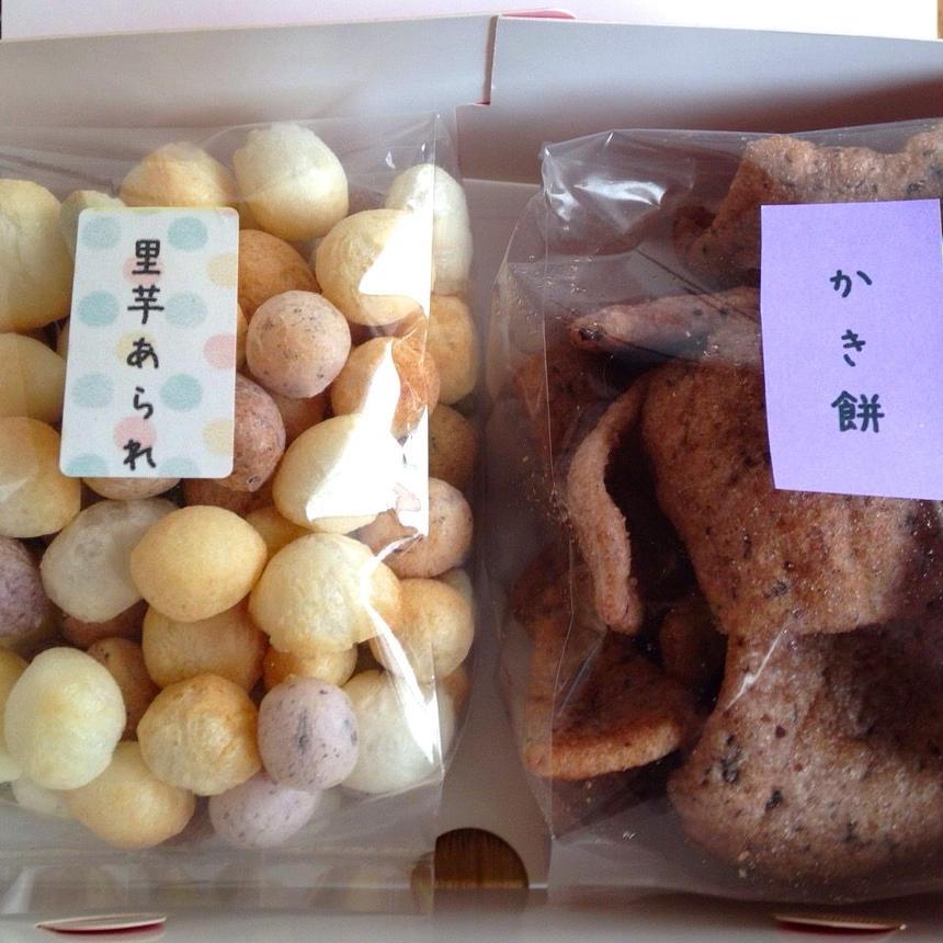 """昔ながらの農家のおやつ""""2箱以上ご注文""""(里芋あられとかき餅2袋入り)"""