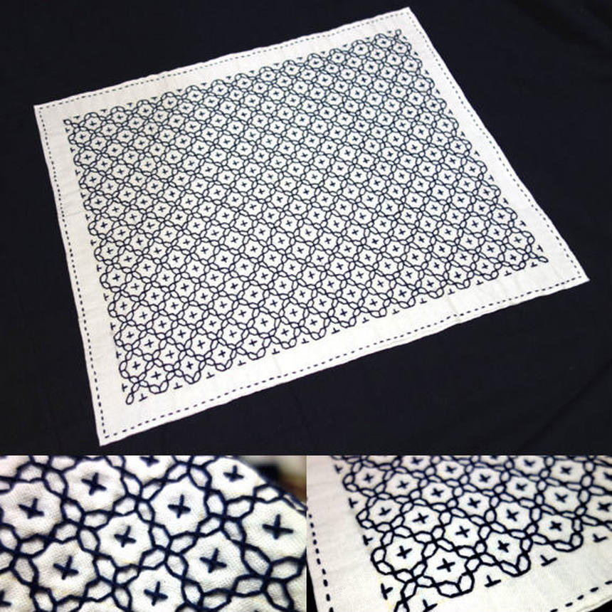 刺し子布巾(2枚重ね)/十字花刺し(青)320×385mm(SOLD OUT)