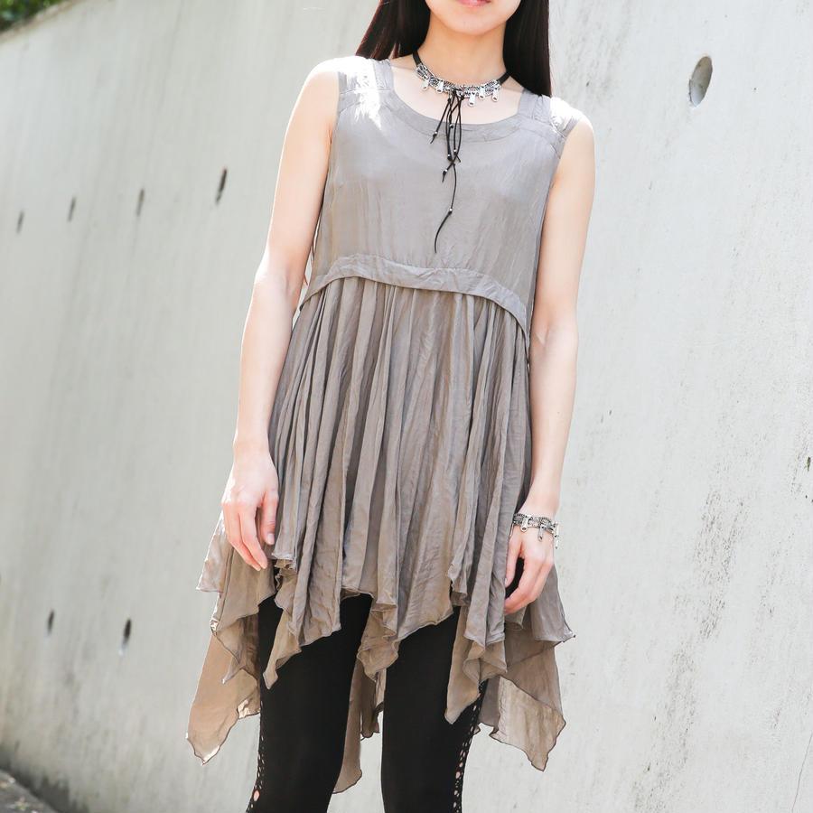 ショルダーストラップ裾フリルチュニック/171B017(A.カーキベージュ)