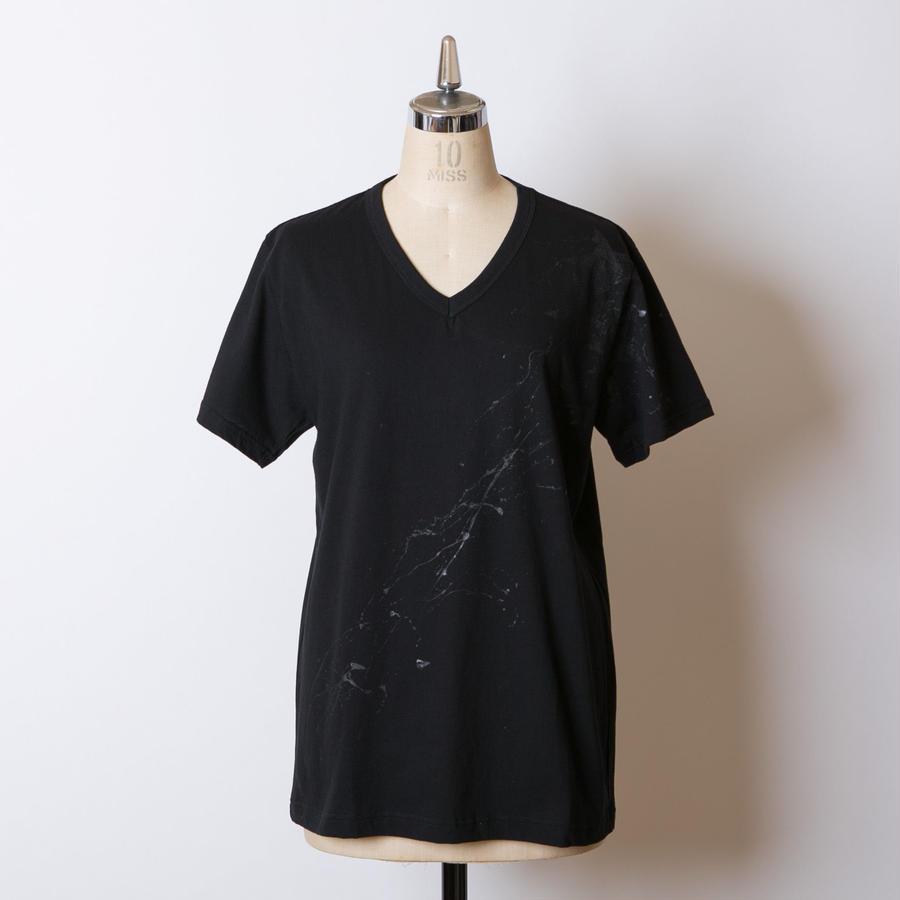 MEN'S高蔵染Vネック星柄Tシャツ/163K086(D.ブラック×ブラック)
