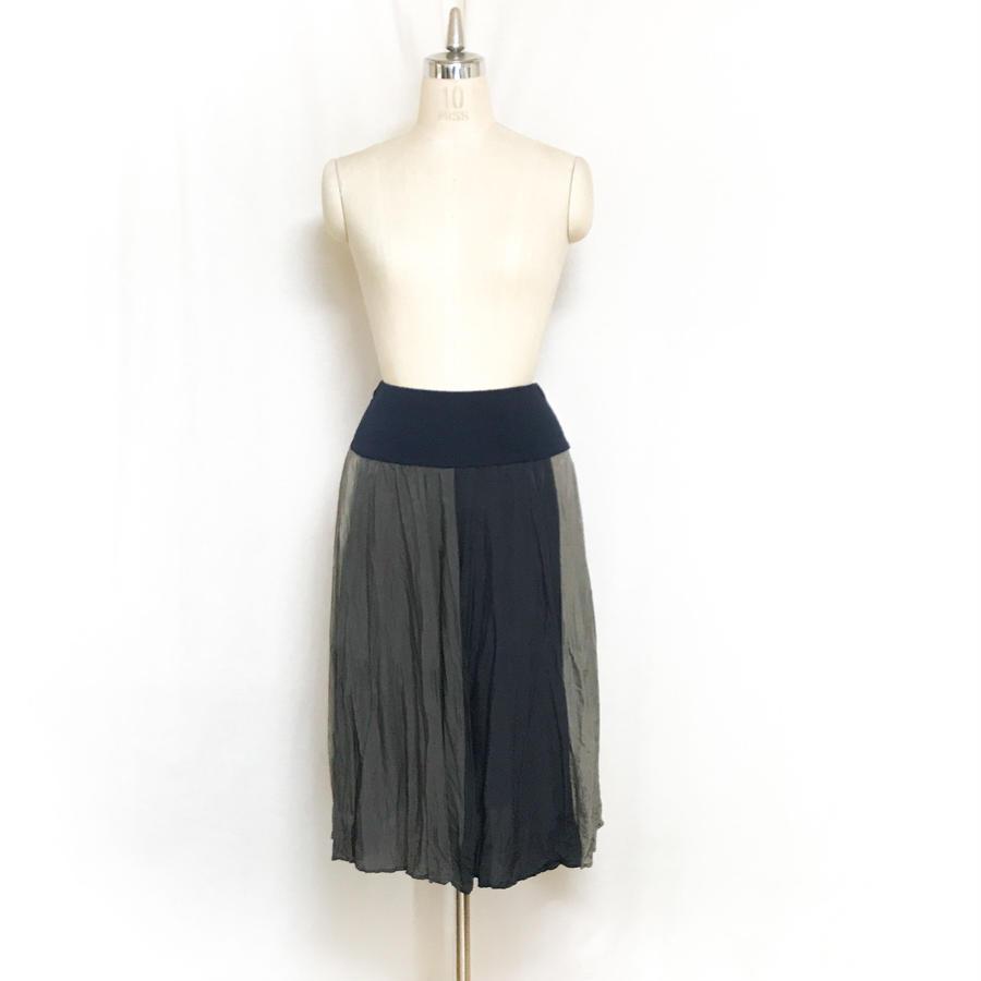 3配色フレアースカート/163S083(A.グレージュ×チャコール×ネイビー)