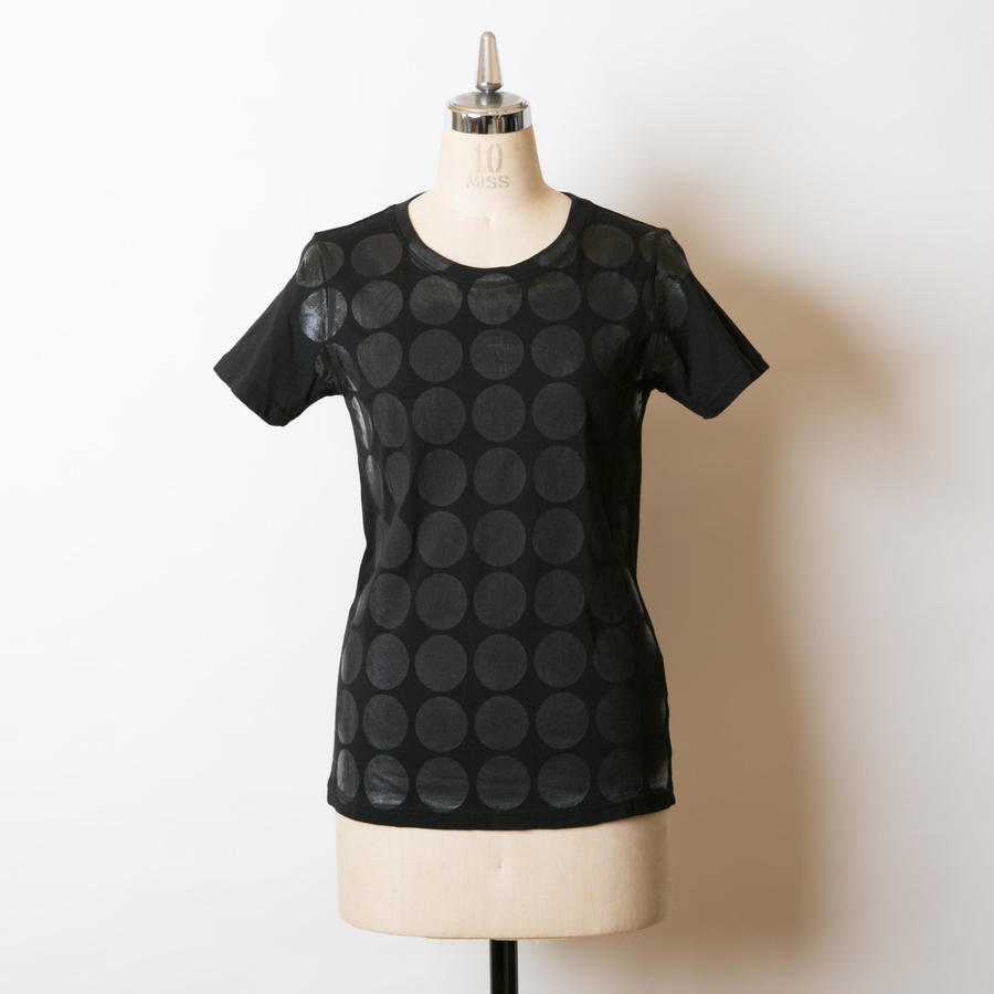 LADY'S高蔵染クルーネックドットTシャツ/162K041(B.ドットブラック小)
