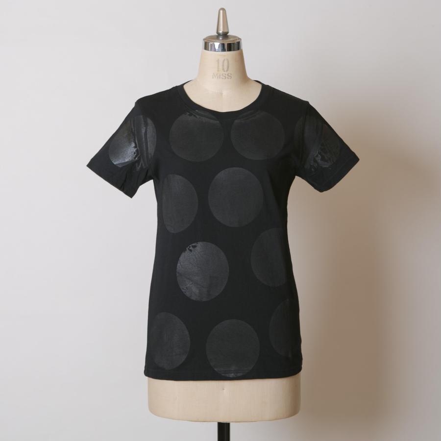 LADY'S高蔵染クルーネックドットTシャツ/162K041(F.ブラック×ブラック中)