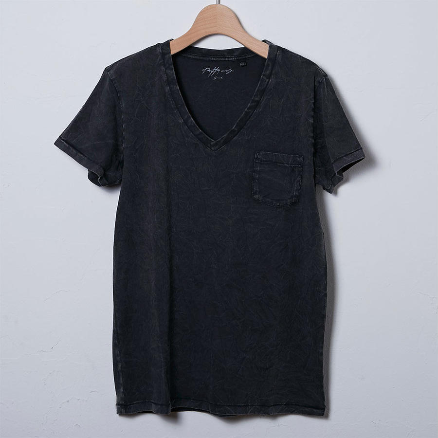 VネックTシャツ/チャコールウォッシュド(PW-03-VN-AW)