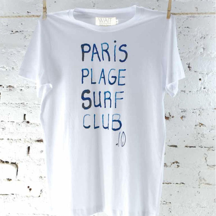 "WAIT Paint Tee ""Paris plage surf club"""