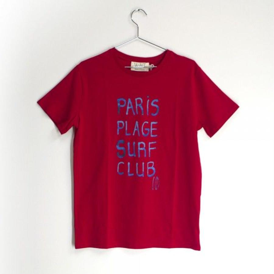 "WAIT Paint Tee ""Paris plage surf club"" red"