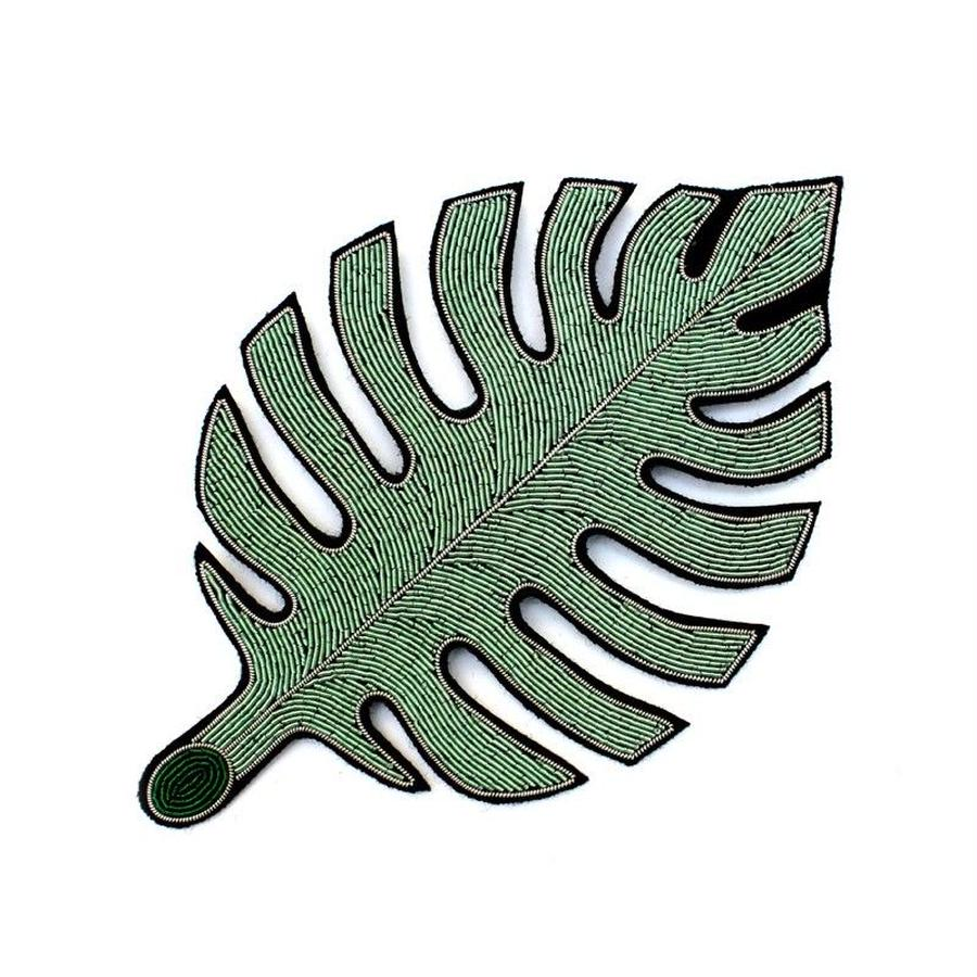 "VERY LARGE HAND-EMBROIDERED ""RUBBER LEAF"" BROOCH ブローチ"