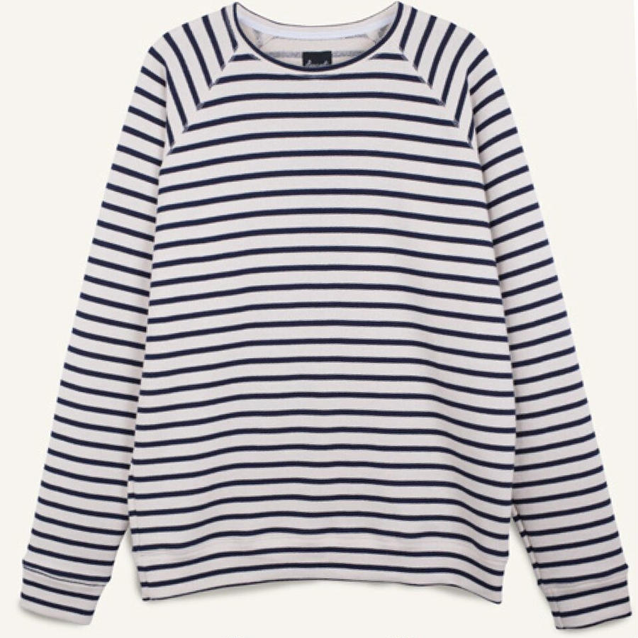 NAVY WHITE STRIPED SWEAT