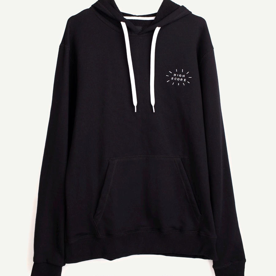 PLEASANT Hoody chest embroidery black