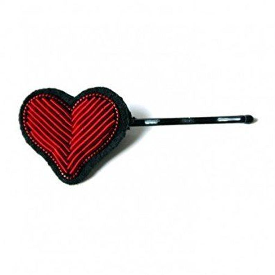 "(マコンエレスコア)MACON & LESQUOY SMALL HAND-EMBROIDERED ""HEART"" HAIRPIN ヘアピン"